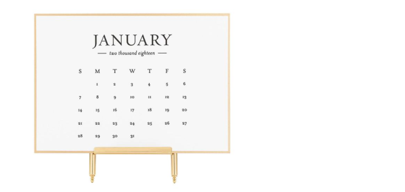 Classic Black and Gold Desk Calendar