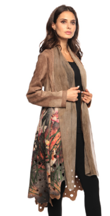 Long Taupe Cut-Out Coat