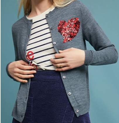 Sequin Heart Cardigan