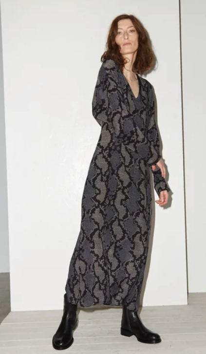 For inspiration: Raey, batwing geo-snake print silk dress, found at Matchesfashion.com. Love this dress with the simple flat black boots. It grounds the look while certainly making it more comfortable and practical for everyday.