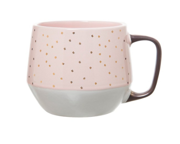 Clay Art Mug Pink with Gold Dots