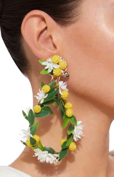 For inspiration - Mercedes Salazar clip earrings, found at Moda Operandi. Floral hand made earrings can be found at Bea's.