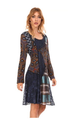 Multi Colored & Patterned Dress