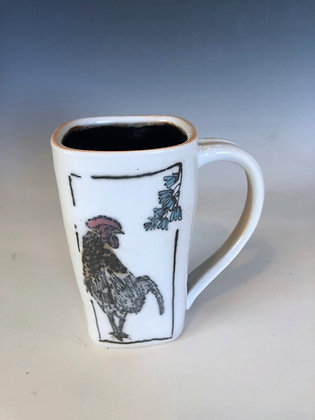 Rooster with bluebells mug