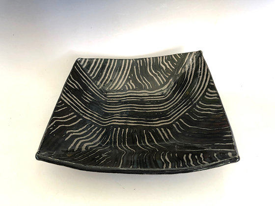 Black and white striped bowl 10""