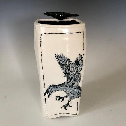 Crow Vase with Crow