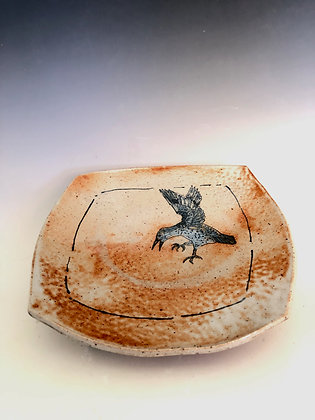"""Square plate with crow 9.5"""""""