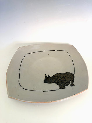 """Square plate with rhino 9.5"""""""