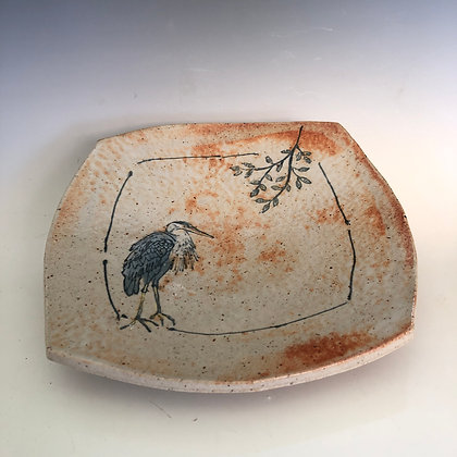 Square plate with blue heron 9.5""