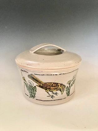 Thrush Covered Jar