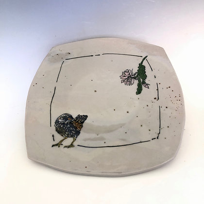 Square plate with thrush 9.5""