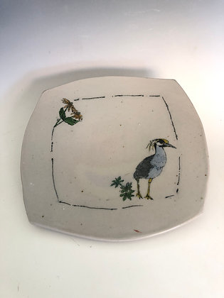 """Square plate with night heron 9.5"""""""