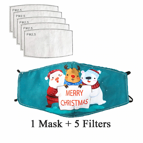 Merry Christmas and Happy New Year Face Mask Washable Replaceable Filter Masks