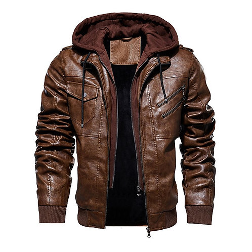 Motorcycle Leather Jacket Men Autumn Winter Leather Material European Size