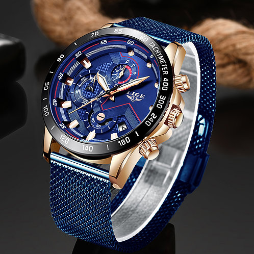 LIGE Mens Watch Top Brand Luxury Wrist Watch Quartz Waterproof Sport Chronograph