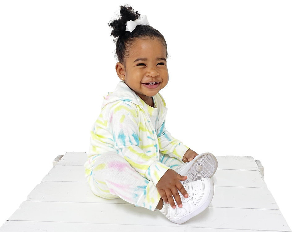 Newborn and Kids Lounge Set Hoodie Tank and Pant Tie Dye Lime Swirl
