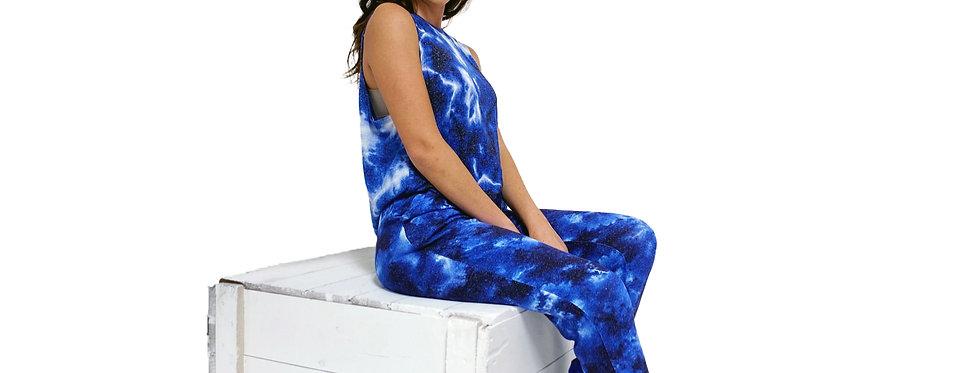 Lounge Set Tank and Pant Tie Dye Blue