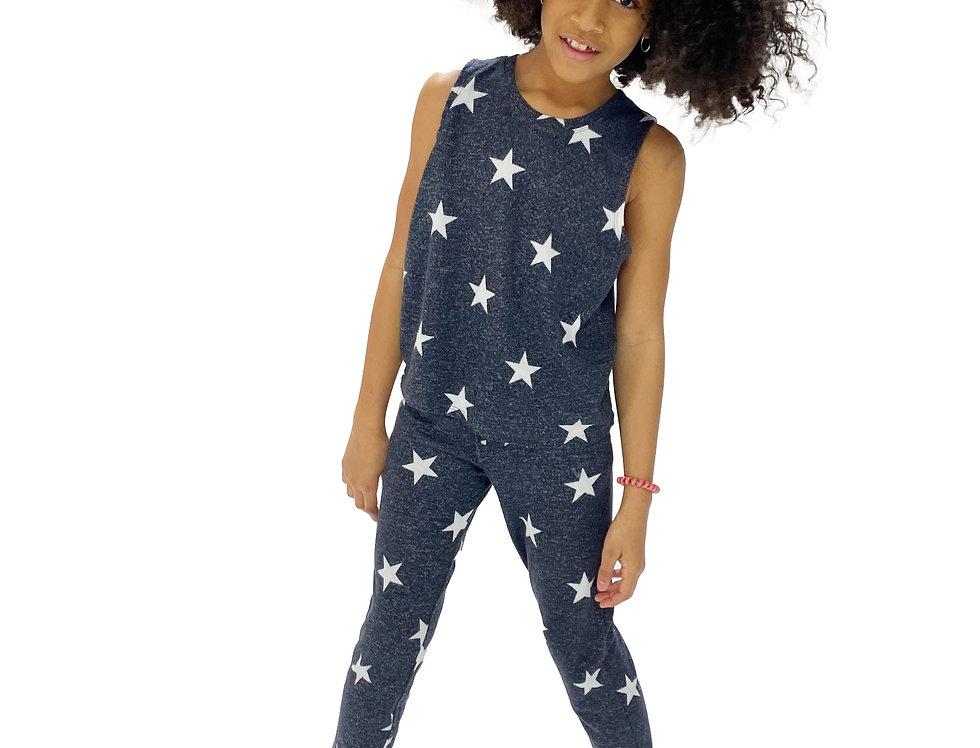 Kids Lounge Set Tank + Pant Black Stars
