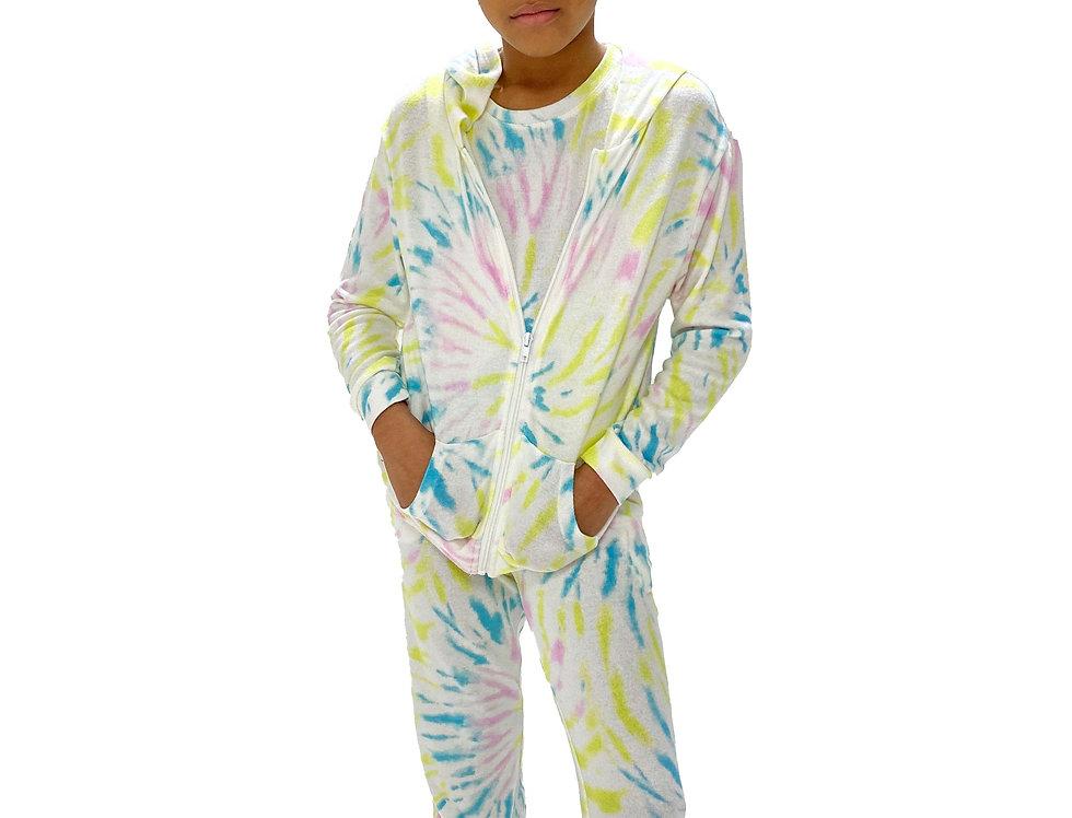 Kids Lounge Set Hoodie Tank + Pant Tie Dye Lime Swirl