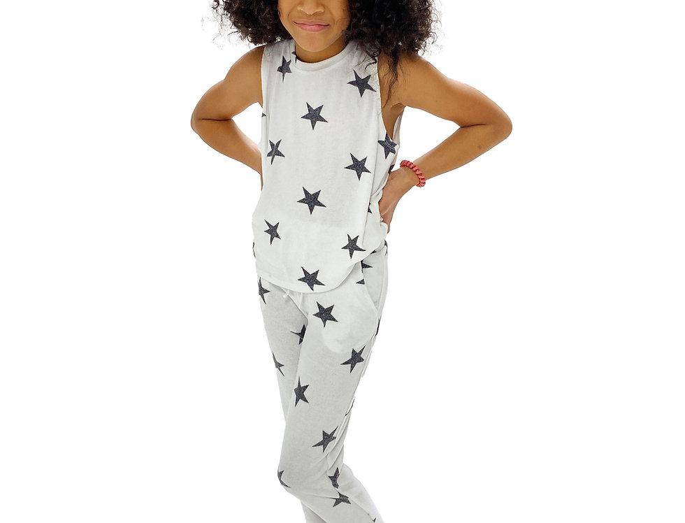 Kids Lounge Set Tank + Pant White Stars