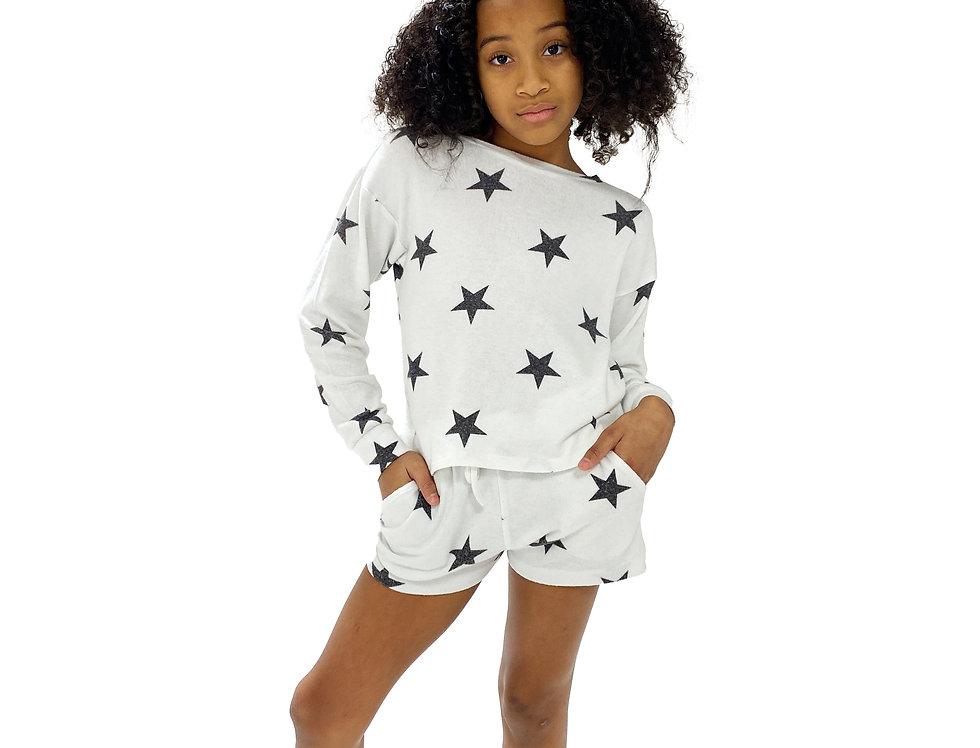 Kids Lounge Set Pullover + Short White Star
