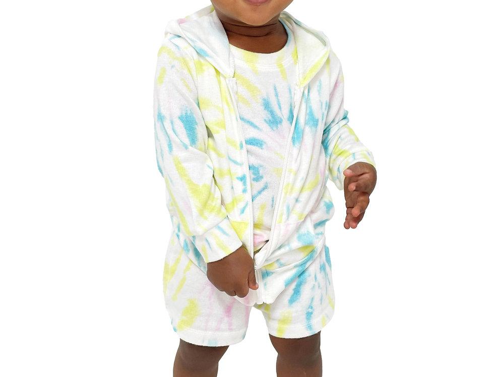 Newborn and Kids Lounge Set Hoodie Tank and Short Tie Dye Lime Swirl