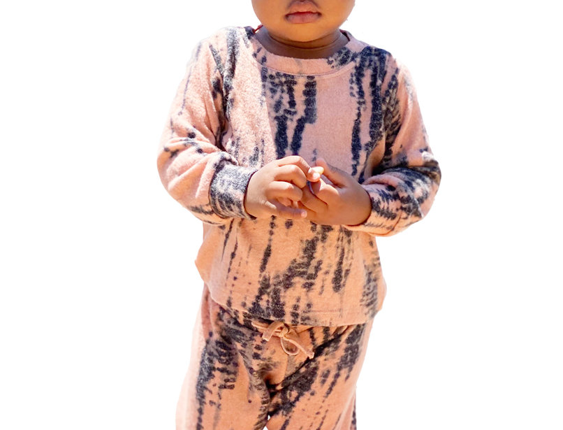 Newborn and Kids Lounge Set Pullover and Pant Tie Dye Peach