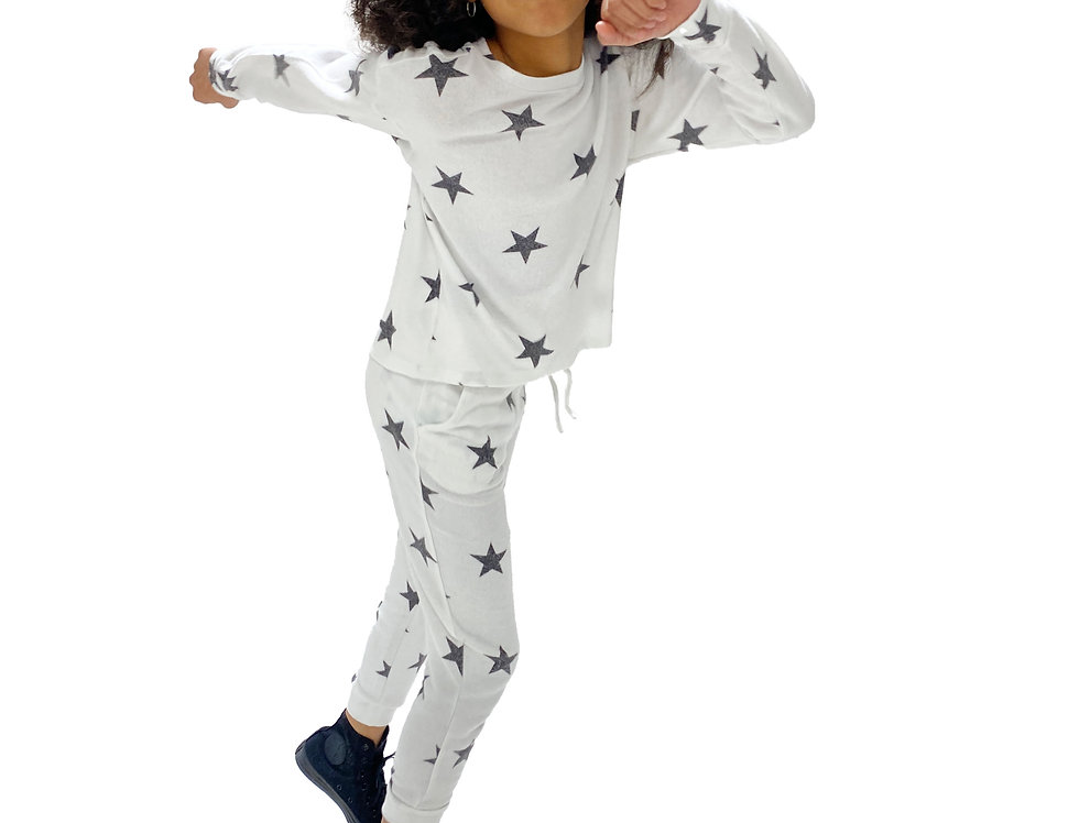 Kids Lounge Set Pullover + Pant White Star