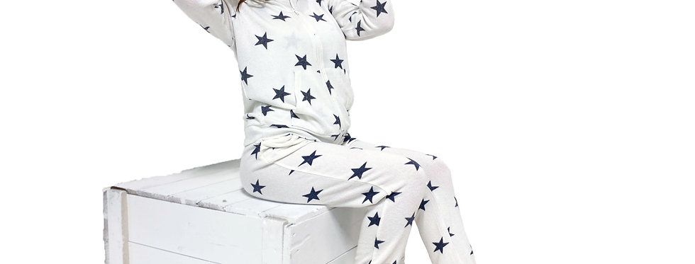 Lounge Set Hoodie and Pant White Star