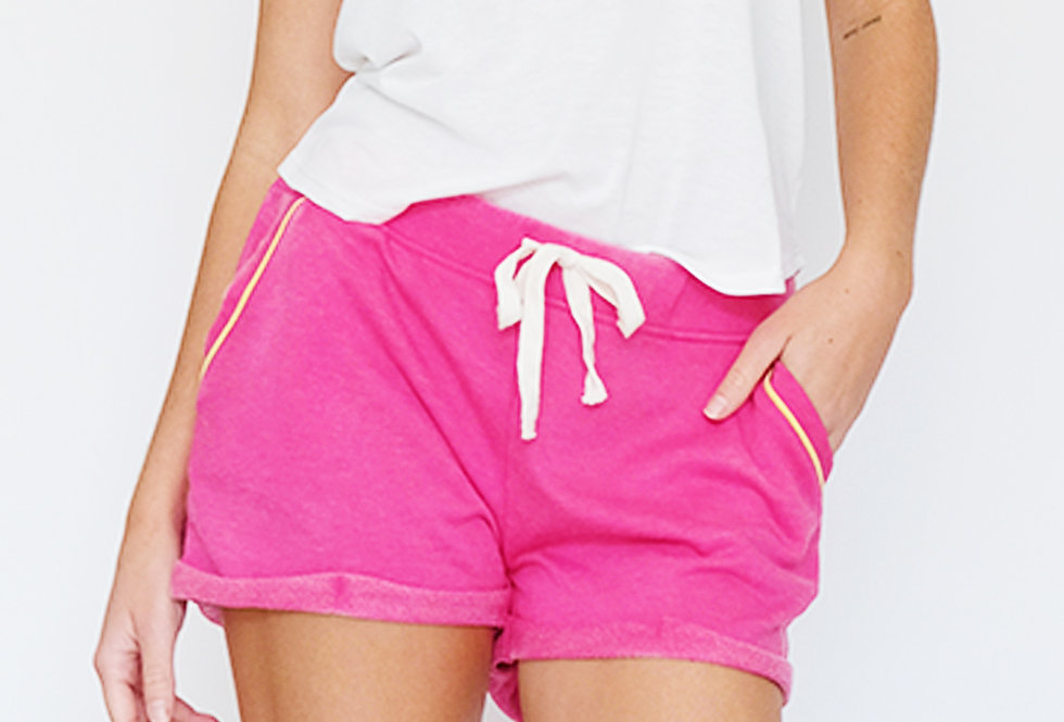 French Terry Short Neon Pink