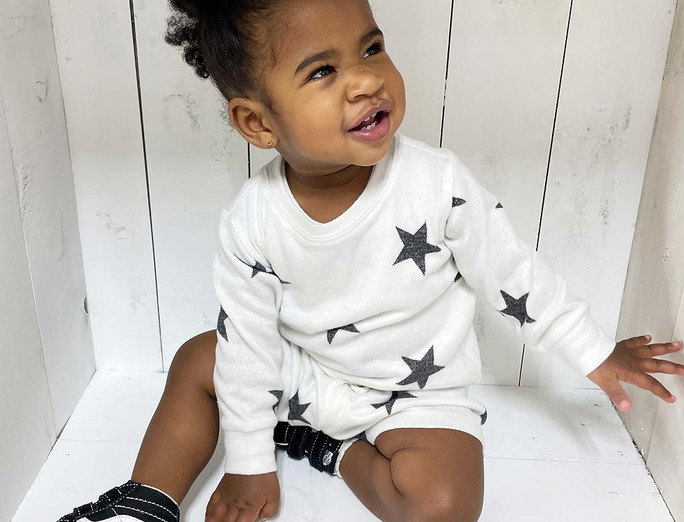 Newborn and Kids Lounge Set Pullover + Short White Stars