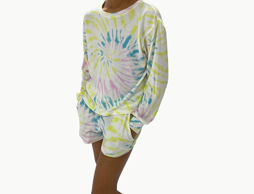 Kids Lounge Set Pullover + Short Tie Dye Lime Swirl