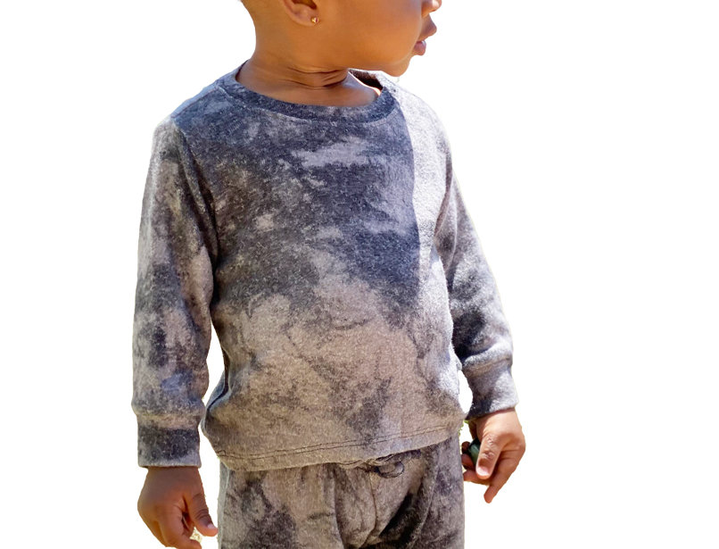 Newborn and Kids Lounge Set Pullover and Pant Tie Dye Black