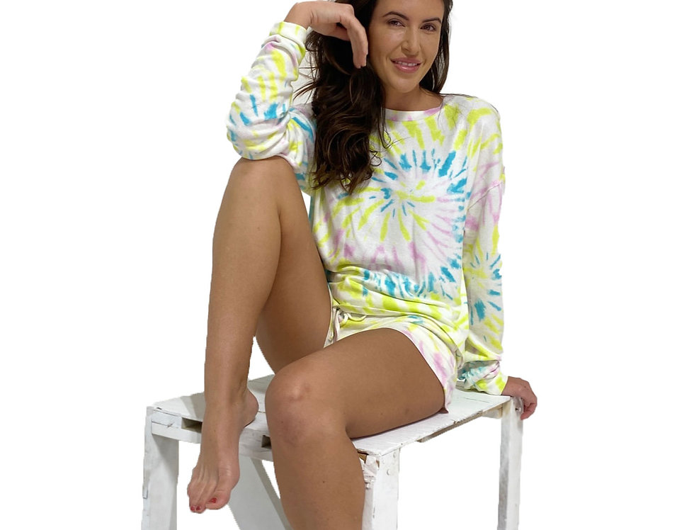 Lounge Set Pullover and Short Tie Dye Lime Swirl