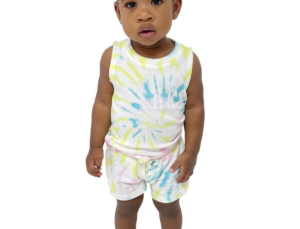 Newborn and Kids Lounge Set Tank + Short Tie Dye Lime Swirl
