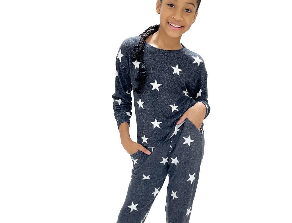 Kids Lounge Set Pullover + Pant Black Star