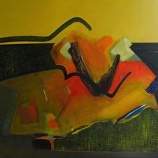 Composition, oil on canvas, 100 W x 180 H cm, 2018