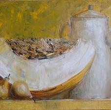 Still life with melon. oil on canvas, 60 W x 40 H cm. 2012