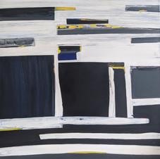 Labyrinth, oil, acrylic on canvas, 100 W x 100 H cm, 2017