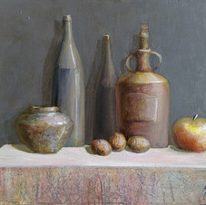 Still life with walnuts. oil on cardboard 70 W x 50 H cm. 2019