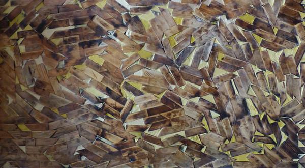 Structure 1. Wood, wax, 60H x 120W cm.