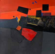 The sky line 2, oil on canvas, 70 W x 80 H cm, 2020