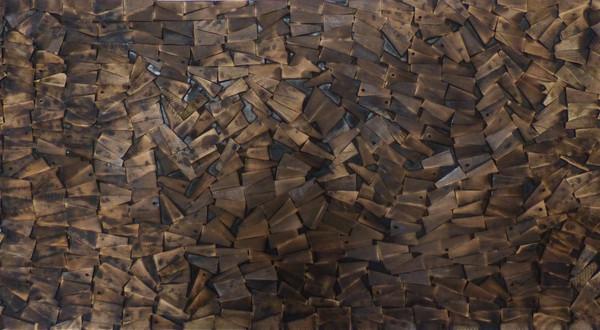 Structure 2. Wood, wax, 60H x 120W cm.