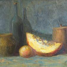 Still life with melon. oil on cardboard, 70 W x 50 H cm. 2008