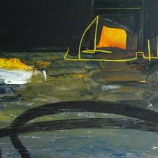 Low sun. Oil on canvas. 90 W x 60 H cm, 2017