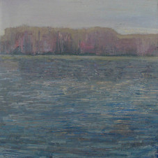 In front of the lake. Oil on canvas, 75 W x 75 H cm. 2013