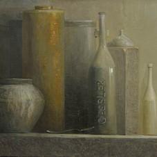 Grey still life. oil on canvas, 90 W x 60 H cm. 2011