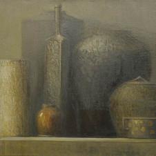 Silver still life. oil on canvas, 80 W x 60 H cm. 2011