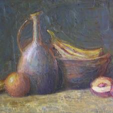 Still life with fruits. oil on cardboard. 70 W x 50 H cm. 2008