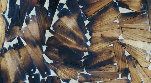 Structure 1. Wood, wax. 30H x 30W cm. 2014.